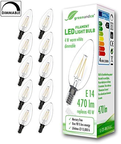 10x greenandco® Glühfaden LED Kerze dimmbar ersetzt 40W E14 4W 470lm 2700K warmweiß 360° 230V 2 Jahre Garantie