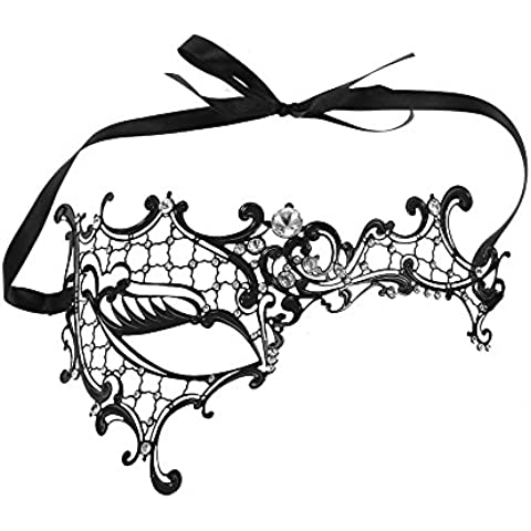 Anself festnight Halloween Maschera Taglio Metallo Semi-maschera con Strass Masquerade Ball