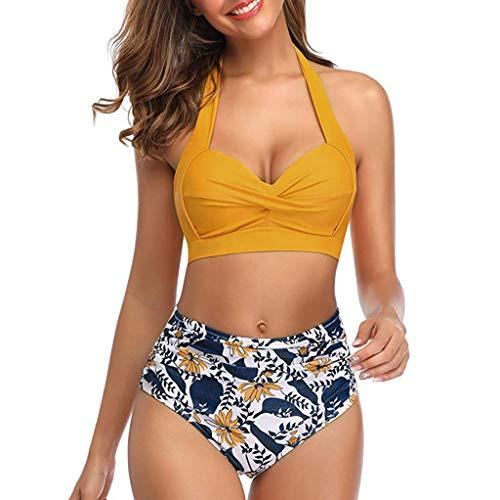 Frauen Vintage Badeanzug Zweiteilige Retro Halfter Geraffte hohe Taille Print Bikini Set Badeanzug Fitness ich sportliche Badebekleidung