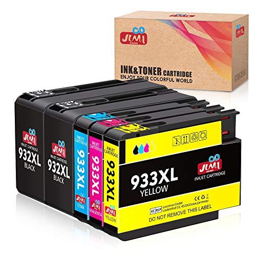 JIMIGO 932 933 Kompatibel Patronen Ersatz für HP 932XL 933XL Multipack Druckerpatrone für HP Officejet 6600 6700 7110 7612 7610 6100 (2 Schwarz, 1 Cyan, 1 Magenta, 1 Gelb)