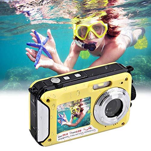 Kinder Unterwasserkamera, Womdee Digital wasserdichte Kamera für Jungen und Mädchen, 24MP Sport-Camcorder mit Zwei Bildschirmen, 16X Digitalzoom, Blitz, Mikrofon und max. 32 G TF-Karte (Yellow)