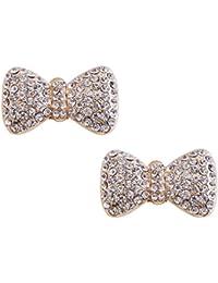 ElegantPark CE Women 2 Pcs Shoe Clips Pearl Bow Diamante Rhinestones Wedding Evening Prom Party Decoration Gift