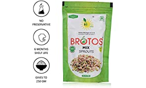 BROTOS Instant Mix Sprouts, Dehydrated, Gives 250 g Sprouts on Rehydration, Sprouts Masala Sachet Inside 80 g (Pack of 1)