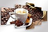 Degona Quadro Moderno COFFEE BREAK - 5 pz. cm 200x90 Stampa su Tela CANVAS Arredamento Arte Arredo Caffè Cucina Bar Ristorante XXL