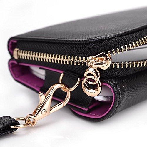 Kroo d'embrayage portefeuille avec dragonne et sangle bandoulière pour Samsung Galaxy A3Duos/Core Prime Multicolore - Black and Purple Multicolore - Black and Violet
