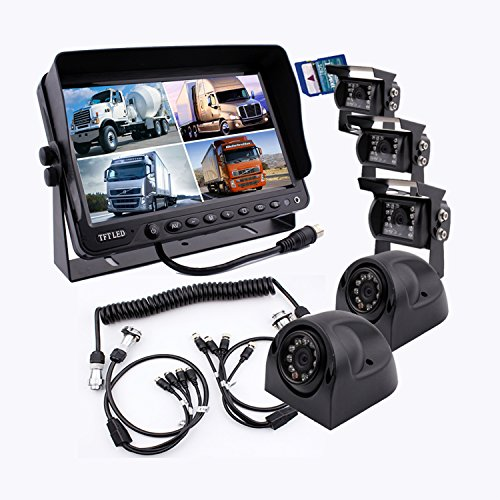 zhiren die 5. Rad Kamera Monitor System Eingebautes DVR Recorder mit Quad Split Screen, 22,9 cm Monitor + 5 x Kameras + Trailer Anhängerkupplung Quick Connect Disconnect Kit passend für Fünfte Rad Quad Lcd-dvr