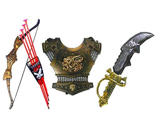 HALO NATION Bahubali Warrior Set - Knights Fancy Dress Kids Cosplay - Bow Archery, Sword & Armour Set