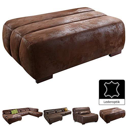 Cavadore Sofa-Hocker Scoutano in Antiklederoptik / Polsterhocker im Industrial Design / Größe: 113 x 42 x 74 cm (BxHxT) / Bezug in Antik Chocco (braun) / Holzfüße in antik