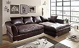 Euro Tische Big Sofa mit modernem Style Stoff in Vintage Braun Ecksofa Größe 290x182cm