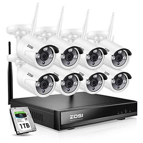 ZOSI 8CH 960P HD Drahtlos NVR Video Überwachungssystem CCTV Funk Überwachungskamera Set für Innen und Außen, 100FT IR Nachtsicht, 1TB Festplatte Toshiba Nvr