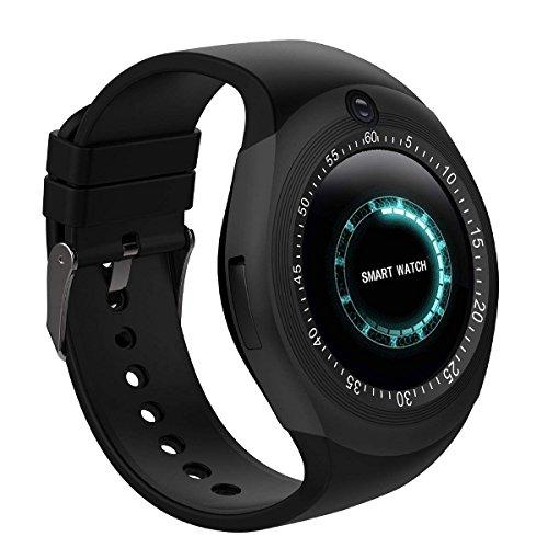 Bluetooth SmartWatch Armband Touchscreen mit Kamera SIM Karten Einschub Sport Tracker Uhr mit Schrittzähler Schlaf Monitor Handy-Armbanduhr für Android Smartphones (Schwarz)