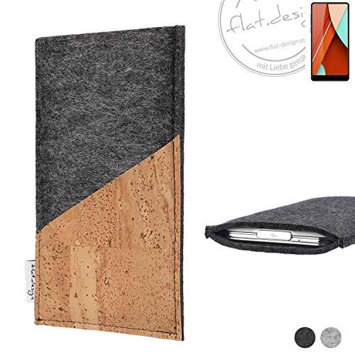 flat.design Handy Hülle Evora für Bluboo D5 Pro handgefertigte Handytasche Kork Filz Tasche Case fair dunkelgrau