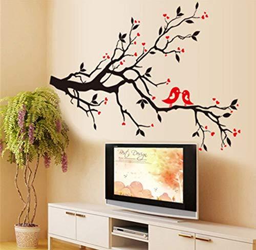 TYKCRt Sticker Mural Oiseaux Sur Branches Arbre Décalcomanies Animaux Décoratif Chambre À Coucher Arts Classique Noir Amovible Vinyle Oiseau S - Classique 4 Licht