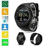 2018 Bluetooth Smart Watch téléphone Compagnon Plein écran Sim Sim pour Android Fitness Tracker d'Activité Cardiofréquencemètre Moniteur de Sommeil| Bracelet Connectée |Montre Cardio (Black)