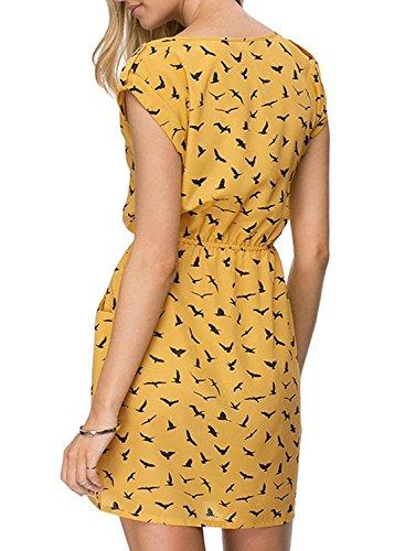 Azbro Women's Bird Print Elastic Waist Chiffon Dress yellow