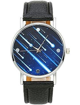 JSDDE Fashion Armbanduhr Meteor Muster Zeitloses Design Silber Analog Quarzuhr Lederarmband Kleid Uhren,Schwarz