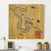 Bilderwelten Cuadro en lienzo - Chinese Dragon - Cuadrado 1:1, cuadros cuadro lienzo cuadro de lienzo cuadro sobre lienzo cuadro moderno cuadro decoracion, Tamaño: 30 x 30cm