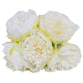 Felice Arts – Ramo de peonía artificial de seda con 5 cabezas. Ramo de flores artificiales. Ramo de novia, de boda, decoración para sala de estar, mesas, jardín, etc.