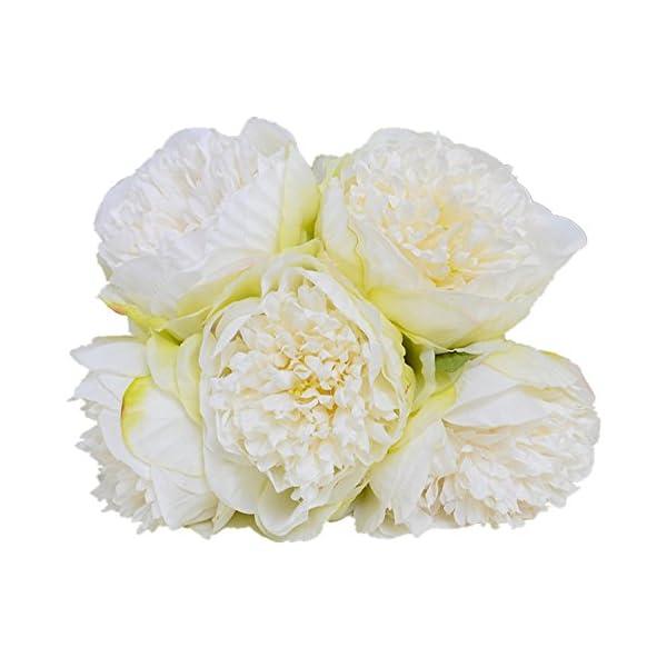Felice Arts – Ramo de peonía artificial de seda con 5 cabezas. Ramo de flores artificiales. Ramo de novia, de boda…