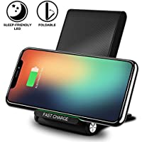 Cargador Inalámbrico Rápido, KimKo Plegable Qi Cargador Soporte 3 bobinas Wireless Quick Charger para iPhone X iPhone 8 iPhone 8 Plus Samsung S9 S9+ S8 S8 Plus S8+ Note8 y todos los dispositivos con Qi
