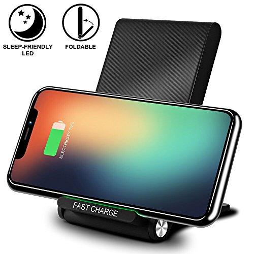 Chargeur sans fils Qi, KimKo 10W Rapide Chargeur induction pour Samsung Galaxy S8/S8 Plus/Note 8, Charge standard est adapté pour iPhone 8/iPhone 8 Plus/iPhone X et autres appareils Qi