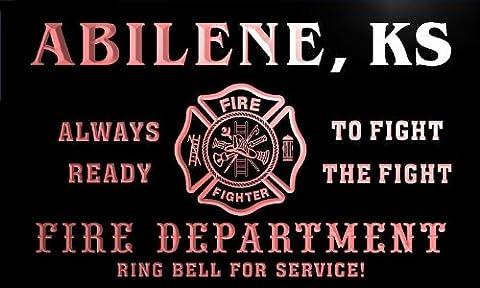 qy55995-r FIRE DEPT ABILENE, KS KANSAS Firefighter Neon Sign