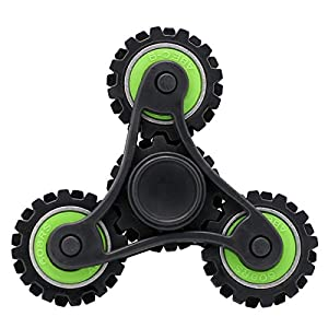 KONKY Hand Tri-Spinner Fidget Gear Fidget Focus Toy with Fast Bearing, EDC Spinner Stress Anxiety Reducer Relief Toy for Kids Adults, ADD, ADHD and Finger Training, Grün Gear