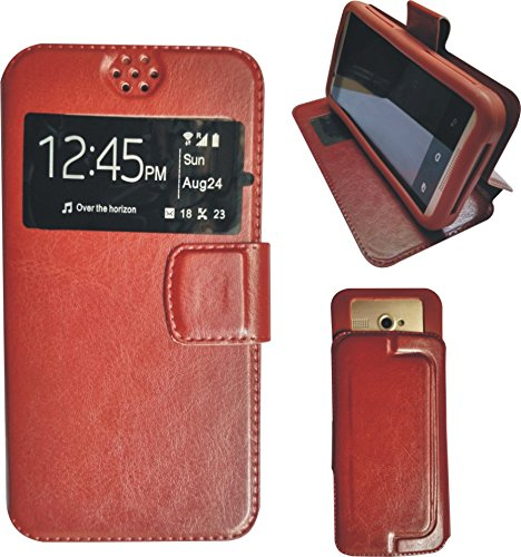 BKDT Marketing Leather finish Flip Cover Case Stand Diary Style for Karbonn S9 Titanium with Dislay Window and Stand - Brown  available at amazon for Rs.234