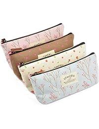 4pcs Multifunctional Canvas Pen Bag Pencil Case Makeup Tool Bag Storage Pouch Purse