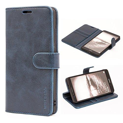 Mulbess Handyhülle für Huawei Ascend Mate 7 Hülle, Leder Flip Case Schutzhülle für Huawei Ascend Mate 7 Tasche, Dunkel Blau