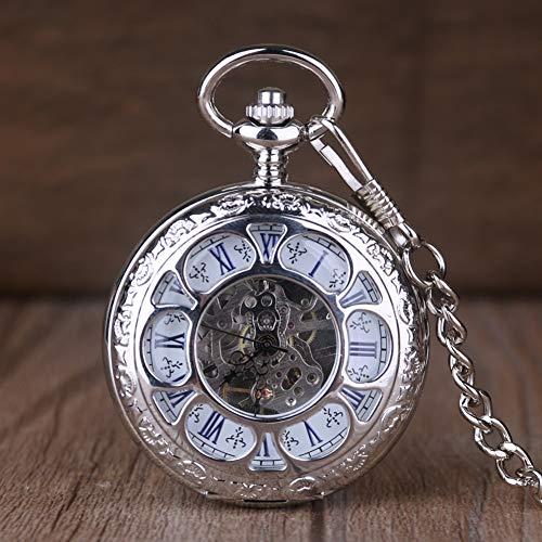 ERDING Taschenuhr,Silber Double Hunter Taschenuhr Mechanische Handaufzug Skeleton Uhren Männer Frauen Geschenk