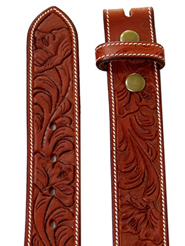 Thor Equine Western Gürtel Floral Tooled Ohne Schnalle Cowboy Cowgirl Chesnut 34