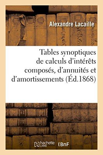 Tables synoptiques de calculs d'intérêts composés, d'annuités et d'amortissements