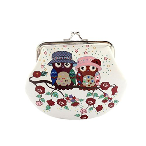 Damen Frauen Mädchen Retro Vintage Owl Leder Kleine Brieftasche Haspe Geldbörse Clutch Bag (C)