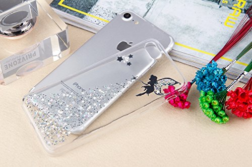 iPhone 7/8 Coque Housse Etui TPU,iPhone 7/8 Case Paillette,Hpory élégant Luxe Ange Motif Cristal Clair Transparent Paillette Bling Glitter Diamant Strass Brillante Housse de Protection Flexible Souple Glitter,Argent