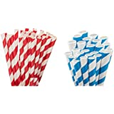 KRIWIN® Pack Of 50 Blue & White Stripes And 50 Red & White Stripes Paper Straws 7 3/4 Inch & 8 Mm Wide - Ideal For Drinking Cocktails, Mock-Tails, Juices, Milkshakes And Craft Work
