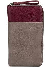 Zwei Eva EV2 Reißverschluss Geldbörse Portemonnaie Geldbeutel Brieftasche, taupe