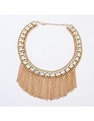 diannaoautumn hembra Ornaments atmosférica cuadrado borla collar exagerado Jersey cadena, kc gold