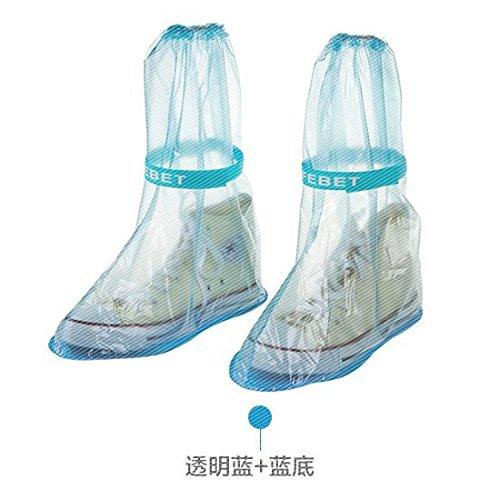 WEIAIXX Transparente High Roller Stiefel Für Herren Und Damen Wasserdichte Ski-Schuhe Erwachsene Im Freien Verdickung Verschleißfesten Wasserdichte Stiefel Abdeckung Eine Größe Mittlere Transparent Kaffee + Blaue Unten