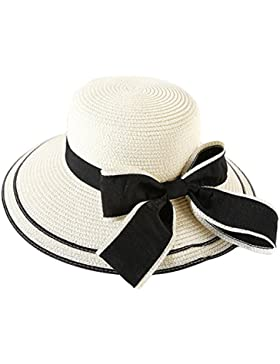 hugestore elegante ala ancha Bowknot verano playa sombrero de paja sombrero de sol Cap para las mujeres Laides...