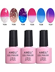 AIMEILI UV LED Thermo Gellack mehrfarbig ablösbarer Nagellack Gel Polish Set - 6 x 10ml - Set Nummer 14