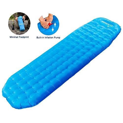 WolfWise Aufblasbare Luftmatratze, Ultraleichte Isomatte Schlaf Matte Unterlage mit Pumpe, für Camping/ Reise,/ Rucksack/ Wandern/ Strand, Tragbar Blau