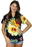 King Kameha Funky Hawaiibluse Hawaiihemd, Kurzarm, Paradise Flowers, Schwarz, L
