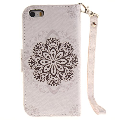 Hülle für iPhone SE, Tasche für iPhone 5 5S, Case Cover für iPhone 5 5S SE, ISAKEN Malerei Muster Folio PU Leder Flip Cover Brieftasche Geldbörse Wallet Case Ledertasche Handyhülle Tasche Case Schutzh Blume Braun