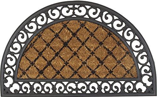 Zerbino COCORUBBER 45 x 75 cm realizzato in naturale fibbra di cocco con bordo in gomma. Disegno Princess. Semicircolare. - Disegno Di Gomma Zerbino