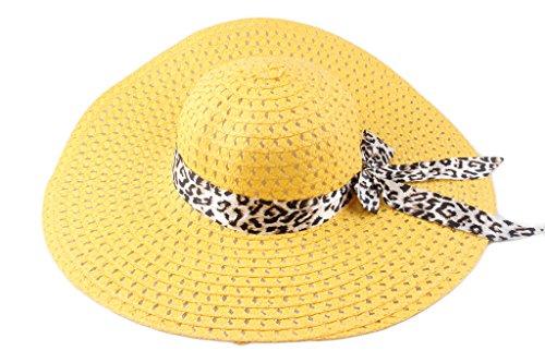 Dantiya Femmes Chapeau de Soleil Plage Été avec Bande en Léopard Grand Bord Pliable Jaune
