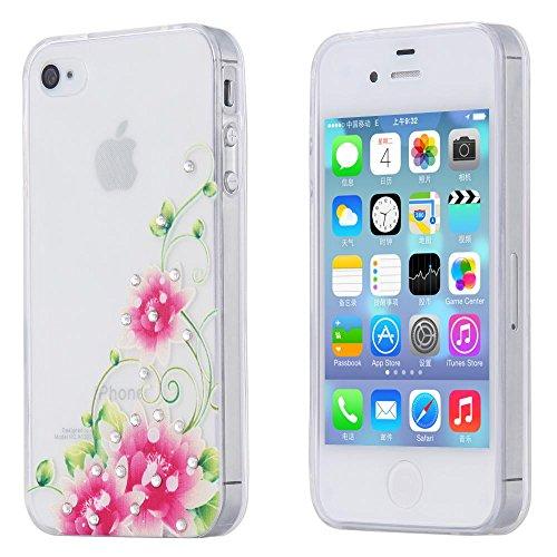 ECENCE APPLE IPHONE 4 4S 3IN1 ZUBEHöR SET CASE SCHUTZ HüLLE HANDY TASCHE COVER SCHALE 21010207 Lotusblüte