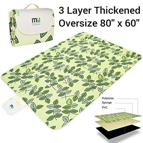 Miu Color® Langlebige Outdoor-Camping Picknick Decke mit Griffen, Feuchtraum, wasserdichten und, sand, Faltbare Decke Green leaves