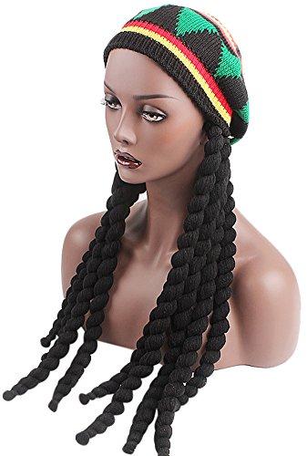 Ababalaya Langer Zopf Rasta Hat Reggae Marley Jamaika Afrikanisch Strickmütze mit Dreadlocks