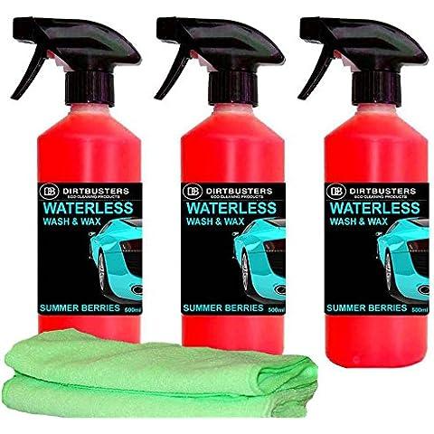 Detergente e cera per auto in 3 diverse fragranze (cocco, e ciliegia), 500 ml x 3 (1 spray e 2 Refill) & 2 panni in microfibra, formula con polimero di qualità, per pulire con qualità professionale, risciacquo non necessario